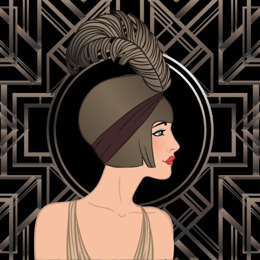 Flapper girl: Retro party invitation design template. Vector ill